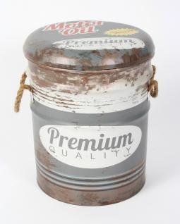 Sitzhocker 17410 Grau Hocker aus Metall mit Kunstleder überzogen 38cm Aufbewahrungsbox Truhe