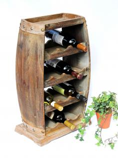 Weinregal Weinfass 1549 Bar Flaschenständer 70cm für 13 Fl. Regal Fass Holzfass