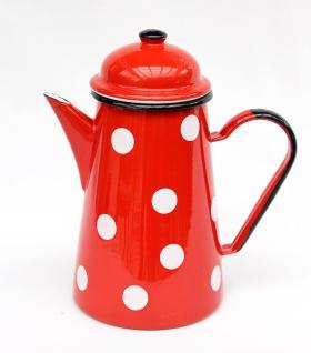 Kaffeekanne 578TB Rot m. weißen Punkten emailliert 22cm Wasserkanne Kanne Emaille Nostalgie Teekanne