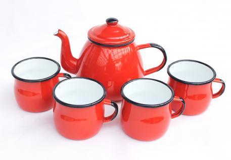 5 tlg. Set Teekanne + 4 Tassen 582AB+501w/7 Rot emailliert Kaffeekanne Emaille Email
