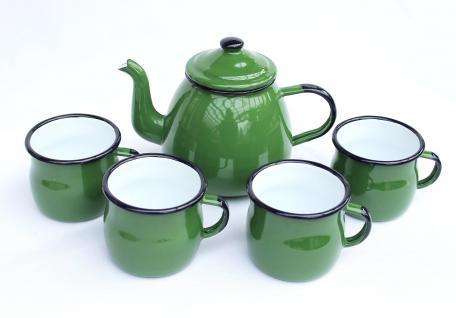 5 tlg. Set Teekanne + 4 Tassen 582AB+501w/7 Grün emailliert Kaffeekanne Emaille Email