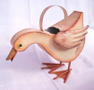 Gießkanne Ente aus Metall B-32cm creme NEU