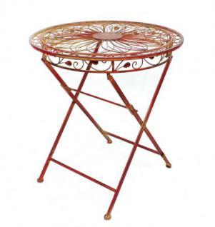 """Tisch mit 2 Stühle 18080-81 Set """"Cuori"""" aus Metall Rot Gartenstuhl Gartentisch - Vorschau 2"""