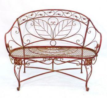 "Bank Gartenbank ""Cuori"" Sitzbank 18082 aus Metall 119cm Gartenmöbel Rot - Antik"