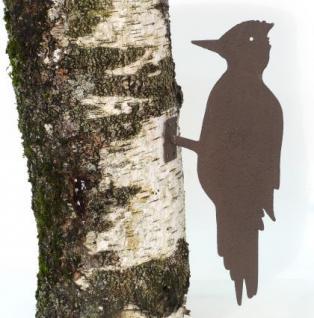 Specht Baum-Dekoration Baumvogel Vogel Außen Deko aus Metall 34cm Braun lackiert - Vorschau 1