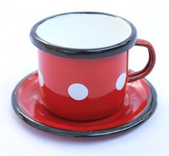 Emaille Tasse mit Untertase 1/61 Rot mit weißen Punkten Becher emailliert 5cm Kaffeetasse