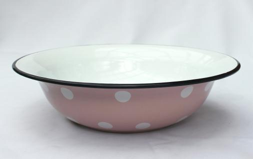 Schüssel 601/32 Rosa mit weißen Punkten emailliert 32cm Teller Salatschüssel Emaille Waschschüssel