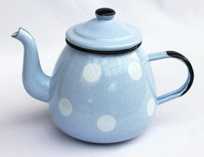 Teekanne 582AB Hellblau mit weißen Punkten emailliert 14cm Wasserkanne Kanne Kaffeekanne Emaille