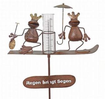 "Stecker Regenmesser 23302 aus Metall ""Wetterfrosch"" 140cm Frosch Gartenstecker"