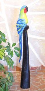Papagei aus Holz Vogel Handbemalt Blau 80cm - Vorschau 2