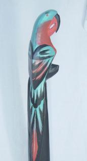 Papagei aus Holz Vogel Handbemalt Grün 80cm