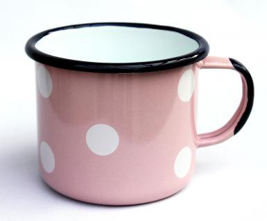 Emaille Tasse 501/10 Rosa mit weißen Punkten Becher emailliert 10 cm Kaffeebecher Kaffeetasse