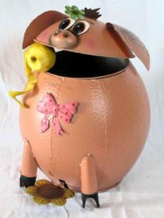 Abfalleimer Schwein Treteimer Mülleimer aus Metall 40cm