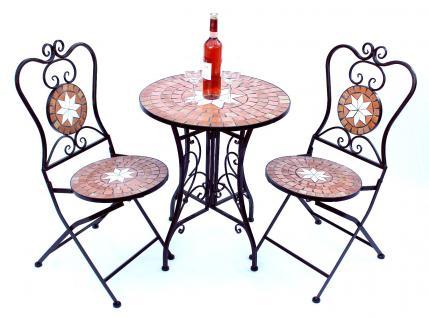 Sitzgruppe Merano 12001-2 Gartentisch + 2 Stk. Gartenstuhl aus Metall Mosaik Tisch + 2x Stuhl - Vorschau 1