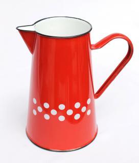 Wasserkanne BsB 8127/2 Rot mit weißen Punkten emailliert 2 L. Kanne Waschkanne Emaille Milchkanne