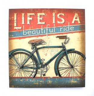 3D Bild Fahrrad Blau Wandbild 20859 49cm Objektbild Vintage Wandschild Metallbild