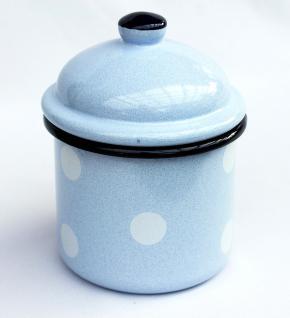 Aufbewahrungsdose 501Z Hellblau mit weißen Punkten Dose 15cm emailliert Landhaus Mehlbüchse Emaille