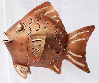 Windlicht Fisch Teelicht Metall Kerzenhalter 22cm