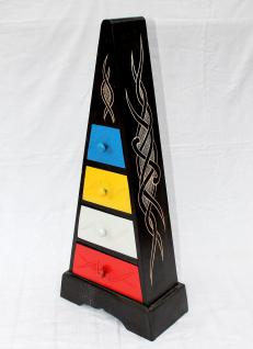 Cargo Loft Pyramide Celtic 80cm Bunt Kommode mit 4 Schubladen Schrank aus Holz - Vorschau 2