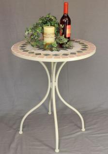 """Tisch """"Merano"""" Weiß D-60cm HX11-301 Mediterran aus Metall Schmiedeeisen Mosaik"""