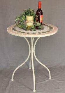 """Tisch """"Merano"""" Weiß D-60cm HX11-301 Mediterran aus Metall Schmiedeeisen Mosaik - Vorschau 2"""