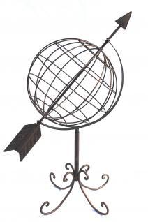 Globus aus Metall 101806 Sonnenuhr aus Schmiedeeisen 72cm Gartenuhr Gartendeko - Vorschau 5