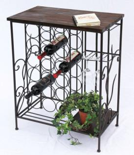 Weinregal 83cm HX12977 Flaschenständer Metall Holz Flaschenhalter Regal - Vorschau 5