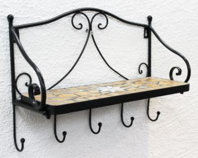 wandregal merano mosaik 050550 aus metall 41cm handtuchhalter badregal mit haken kaufen bei. Black Bedroom Furniture Sets. Home Design Ideas