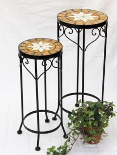 Blumenhocker Merano Mosaik 2er Set 12011 Blumenständer 46 und 54cm Hocker Rund