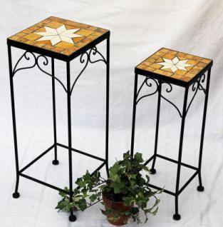 Blumenhocker Merano Mosaik 2er Set 12012 Blumenständer 46 und 54cm Hocker Eckig