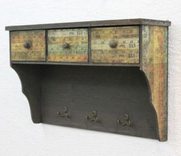 Wandschrank 59cm Loft 12050 Schrank Wandregal Vintage Shabby Hakenleiste Haken - Vorschau 4