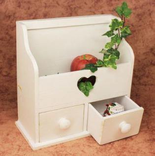 Minikommode Kommode mit 2 Schubladen 12236 Regal 28cm Schmuckkasten Shabby Regal - Vorschau 1