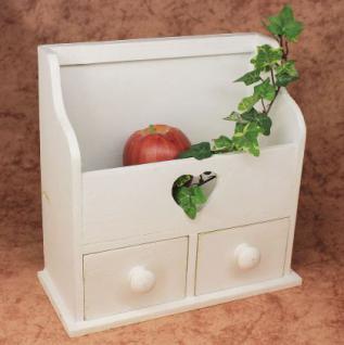Minikommode Kommode mit 2 Schubladen 12236 Regal 28cm Schmuckkasten Shabby Regal - Vorschau 3