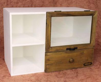 minikommode 12016 kommode mit vitrine und schublade regal 48cm schrank shabby kaufen bei. Black Bedroom Furniture Sets. Home Design Ideas