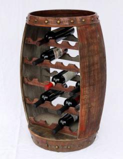 Weinregal Weinfass 0370-R Fass aus Holz H-81cm Flaschenständer Braun Bar Weinbar - Vorschau 5