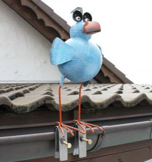Möwe aus Metall 32cm Vogel 2424 Blau Dachschmuck für die Dachrinne Dachfigur