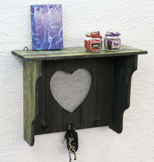 Wandregal mit Herz 39cm Loft A12020 Wandkosole Vintage Shabby Hakenleiste Regal