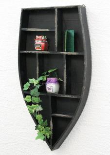 Setzkasten Boot Sammlervitrine Schwarz 12111 Loft 58cm Shabby Landhaus Wandregal