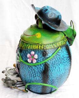 abfalleimer frosch mit hut blau bl61 treteimer m lleimer aus metall 45cm eimer kaufen bei. Black Bedroom Furniture Sets. Home Design Ideas
