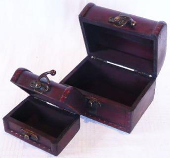"""2er Set Kästchen Schatulle Truhe Holztruhe Box """"S"""" Rund - Vorschau 3"""