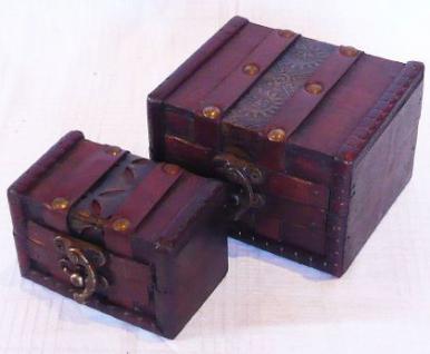 """2er Set Kästchen Schatulle Truhe Holztruhe Box """"S"""" Eck - Vorschau 1"""