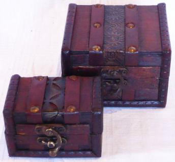 """2er Set Kästchen Schatulle Truhe Holztruhe Box """"S"""" Eck - Vorschau 2"""