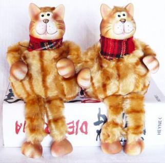 2 Katzen aus Keramik und Textil Katze sitzend 22cm 2er Set - Vorschau 2