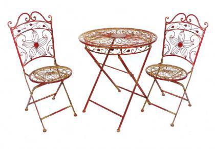 """Tisch mit 2 Stühle 18080-81 Set """"Cuori"""" aus Metall Rot Gartenstuhl Gartentisch - Vorschau 1"""