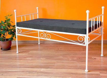 bank diana white sitzbank mit auflage gartenbank aus metall 110cm kaufen bei dandibo. Black Bedroom Furniture Sets. Home Design Ideas