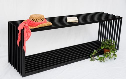 Bank D-Stil 150cm Modern Gartenbank 10103 Sitzbank aus Metall Eisen Blumenbank - Vorschau 3