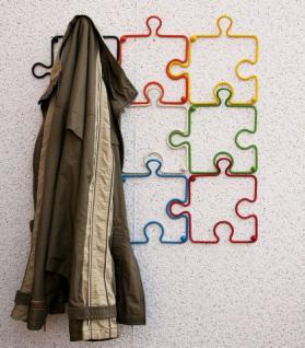 "Designer Kleiderhaken ""Puzzle"" 20cm Garderobe Wandhaken Haken aus Metall"