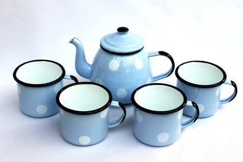 5 tlg. Set Teekanne + 4 Tassen 582AB+501/8 Hellblau mit weißen Punkten emailliert Emaille Email