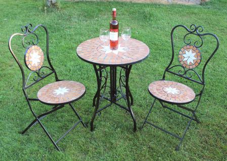 Sitzgruppe Merano 12001-2 Gartentisch + 2 Stk. Gartenstuhl aus Metall Mosaik Tisch + 2x Stuhl - Vorschau 5