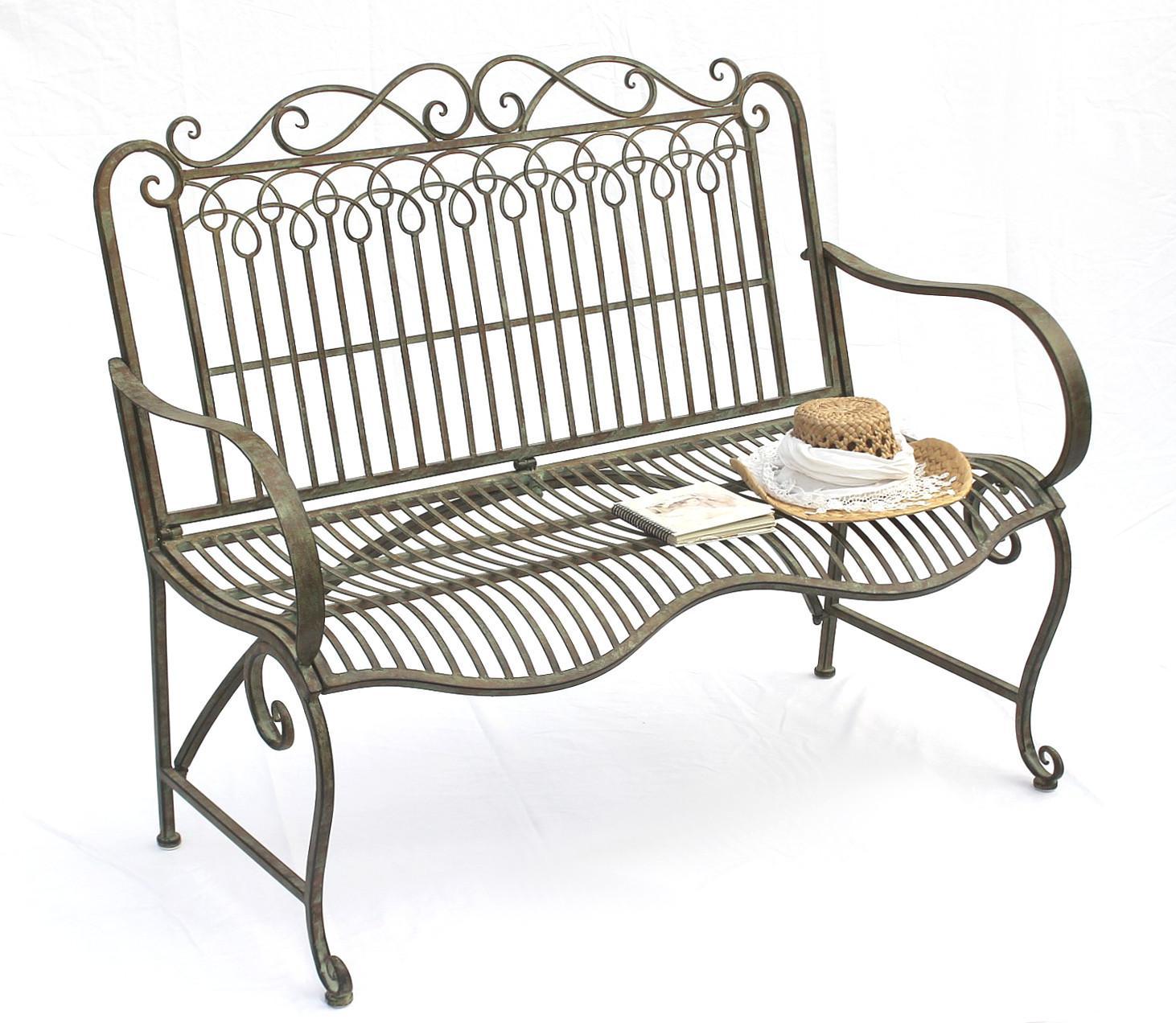 bank aus metall gartenbank jc150014 sitzbank parkbank 2 sitzer 110cm patina gr n kaufen bei. Black Bedroom Furniture Sets. Home Design Ideas